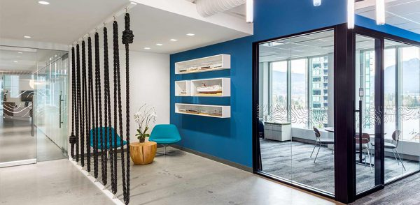 Blue is a calming Colour in office design.