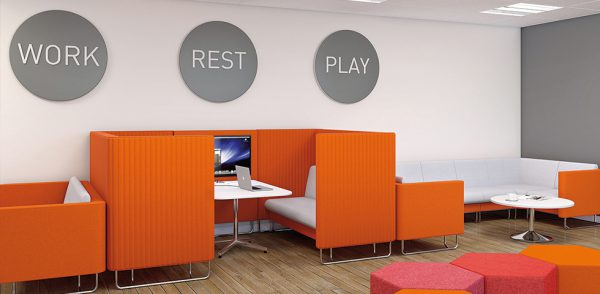 Orange is of a bold choice of colour in office design.