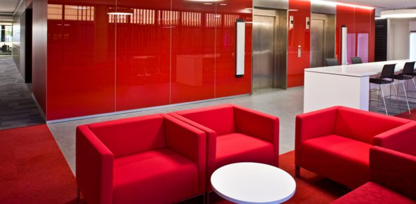 Red is a powerful colour in office design.